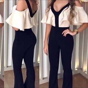 Catty M Other - V Neck Ruffle Cold Shoulder Cat Suit